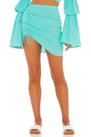 Bananhot X REVOLVE Mini Ruched Skirt in Blue.
