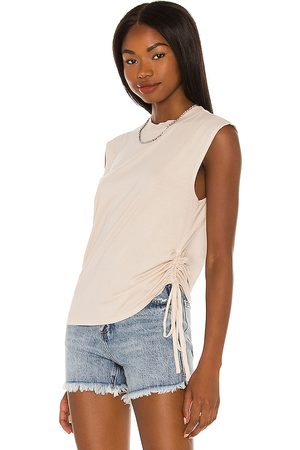 Pam & Gela Side Ruched Muscle Tee in Neutral.