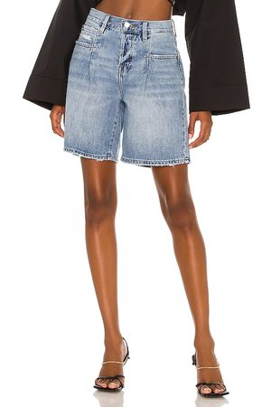 Pistola Frannie High Rise Loose Pintuck Short in Blue.