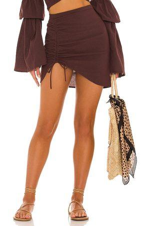 Bananhot X REVOLVE Mini Ruched Skirt in Chocolate.