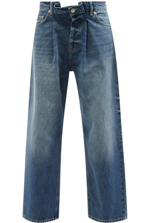 Raey Women Boyfriend Jeans - Fold Organic-cotton Dad Baggy Boyfriend Jeans - Womens - Dark