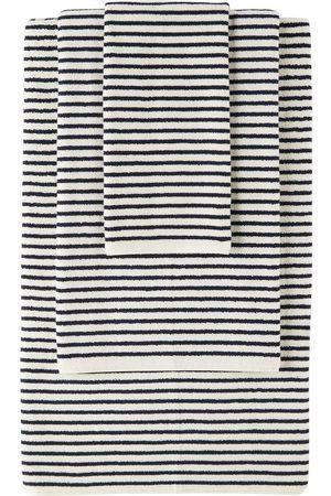 Tekla Off-White & Navy Organic Three-Piece Towel Set