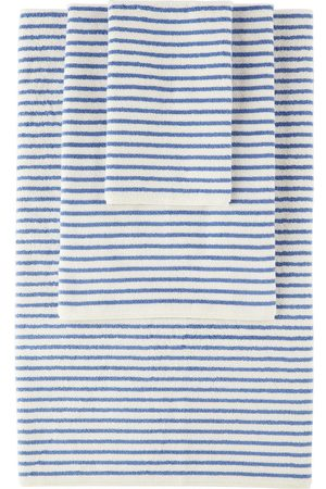 Tekla Off-White & Blue Organic Three-Piece Towel Set