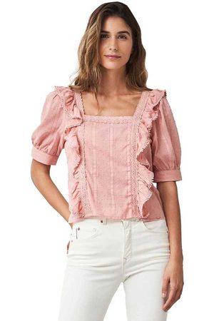 Salsa Leaf Print Short Sleeve Tunic Blouse XS