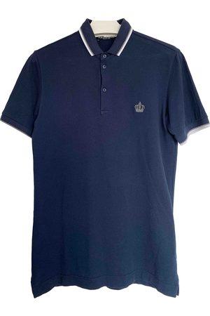 Dolce & Gabbana Navy Cotton Polo Shirts
