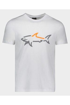 Paul & Shark Organic Cotton T-Shirt With Fluo Printed Shark