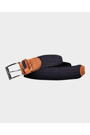 Paul & Shark Leather Trimmed Woven Elastic Belt