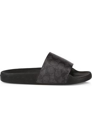 Coach Men Sandals - Men's Siganture Monogram Printed Slide Sandals - Charcoal Signature - Size 9