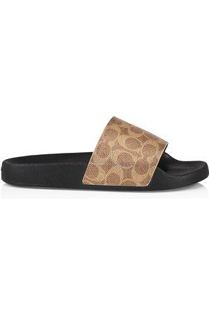 Coach Men Sandals - Men's Siganture Monogram Printed Slide Sandals - Khaki Signature - Size 9
