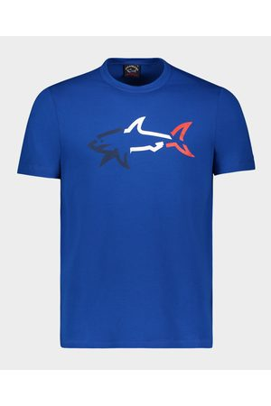 Paul&Shark Organic Cotton T-Shirt With Multicolor Printed Shark