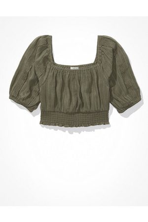 American Eagle Outfitters Puff-Sleeve Crop Top Women's XXS