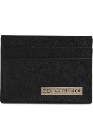 Balenciaga Men Wallets - Metal Logo Leather Card Holder