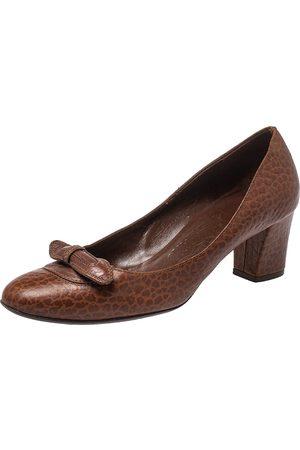 Salvatore Ferragamo Women Heeled Pumps - Leather Block Heel Pumps Size 38.5