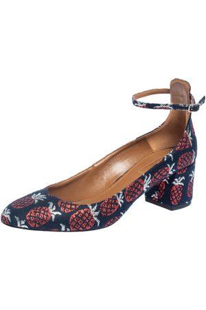 Aquazzura Fabric Logo Embroidered Alix Ankle Strap Block Heel Pumps Size 39