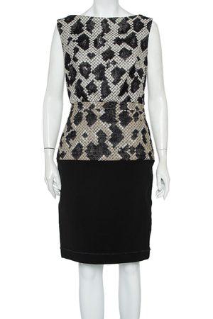 Balenciaga Patterned Wool & Knit Paneled Sleeveless Dress M