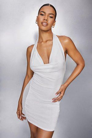 Boohoo Womens Slinky And Mesh Cowl Neck Dress - - 4