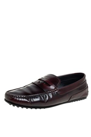Tod's Tods Burgundy Leather Slip On Loafers Size 41