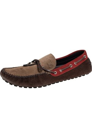 LOUIS VUITTON Leather And Suede Gloria Loafers Size 44.5
