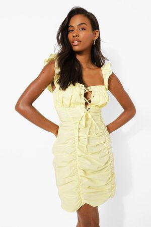 Boohoo Womens Tie Detail Ruched Mini Dress - - 2