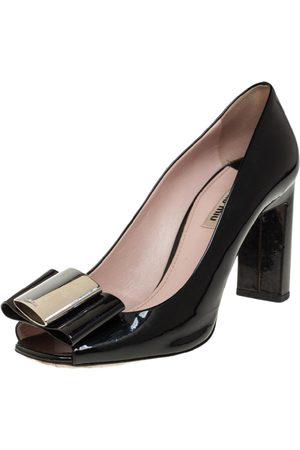 Miu Miu Patent Leather Bow Open Toe Block Heel Pumps Size 40