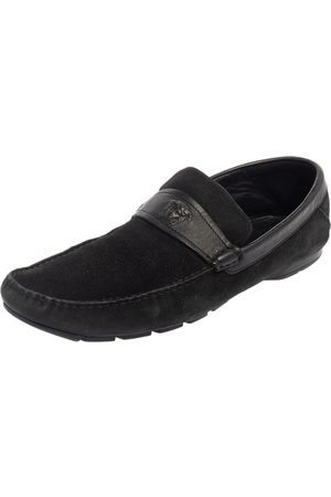 VERSACE Suede And Leather Slip On Loafers Size 44