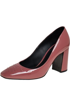 Bottega Veneta Women Heeled Pumps - Dusty Patent Leather Intrecciato Detail Block Heel Pumps Size 36.5