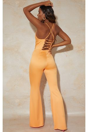 PrettyLittleThing Bright Satin Lace Up Cowl Neck Jumpsuit