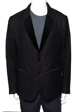 Dolce & Gabbana Wool Velvet Trim Button Front Blazer XL