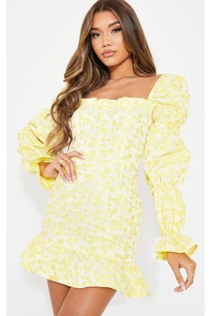 PrettyLittleThing Jacquard Corset Detail Puff Sleeve Bodycon Dress