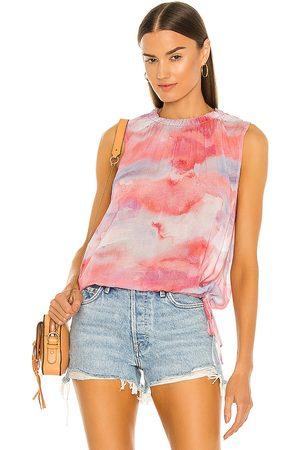 Bella Dahl Smocked Neck Blouse in Pink,Coral.