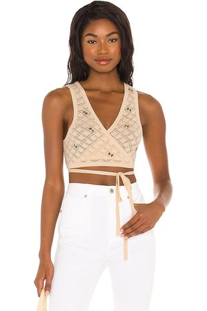 LPA Daphne Embroidered Wrap Top in Ivory.