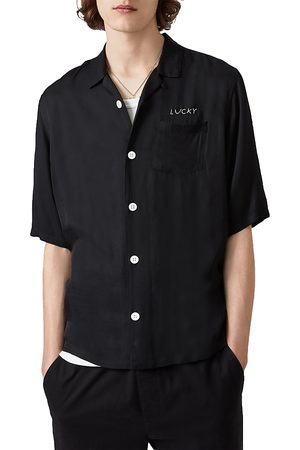 AllSaints Lucky Embroidered Regular Fit Button Down Camp Shirt