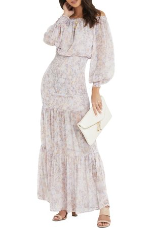Vici Collection Women's Floral Off The Shoulder Long Sleeve Chiffon Dress