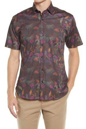 Jeff Men's Winey Roads Floral Short Sleeve Stretch Button-Up Shirt