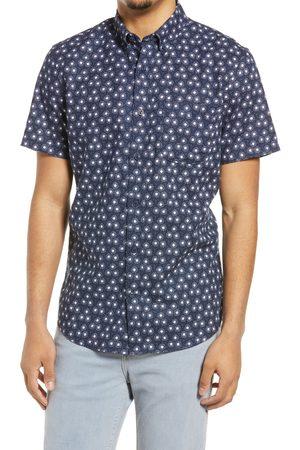Treasure & Bond Men's Slub Short Sleeve Linen Blend Button-Down Shirt