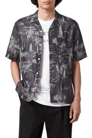 AllSaints Men's Joshua Tree Print Short Sleeve Button-Front Camp Shirt