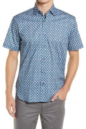 Jeff Men's Wide Eyes Short Sleeve Stretch Button-Up Shirt