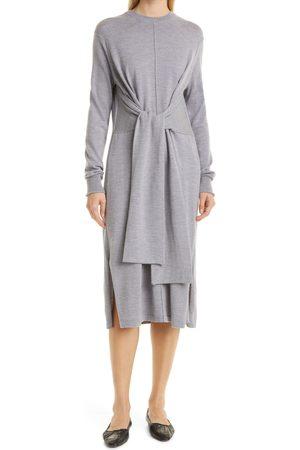 Proenza Schouler Women's Tie Front Long Sleeve Merino Wool Sweater Dress