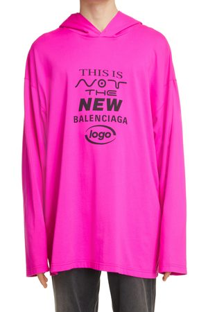 Balenciaga Men's This Is Not Logo Hooded Graphic Tee