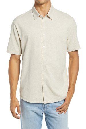 Good Man Brand Men's On-Point Star Flex Heather Short Sleeve Knit Button-Up Shirt