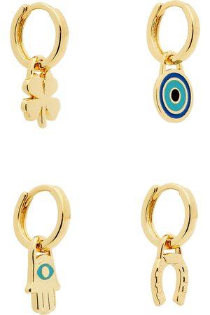 Jenny Women Earrings - Fortuna 14kt -dipped hoop earrings - set of four