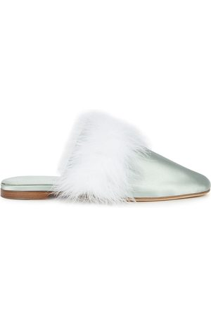 Sleeper Manon mint feather-trimmed mules