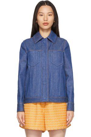 Fendi Blue Denim Embossed Logo Jacket