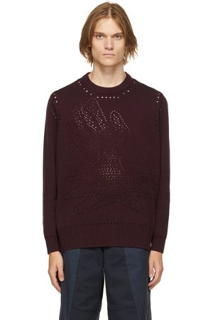 LIAM HODGES Burgundy Knit Thin Ice Sweater