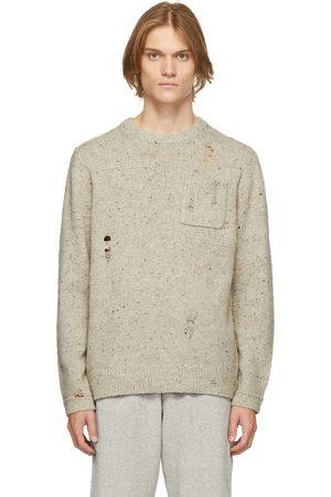 Helmut Lang Beige Distressed Knit Crewneck Sweatshirt