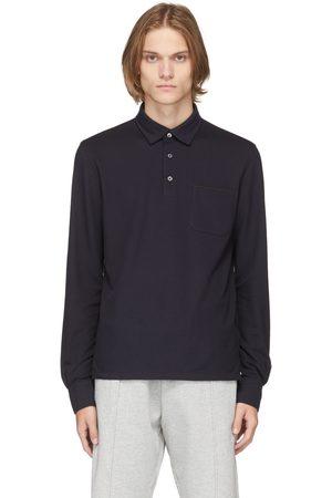 Ermenegildo Zegna Navy Cotton Long Sleeve Polo