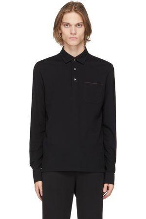 Ermenegildo Zegna Black Cotton Long Sleeve Polo