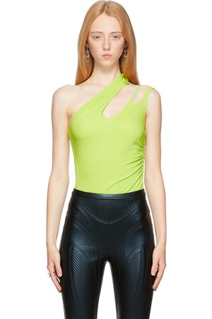 MUGLER Green Jersey Asymmetric Bodysuit