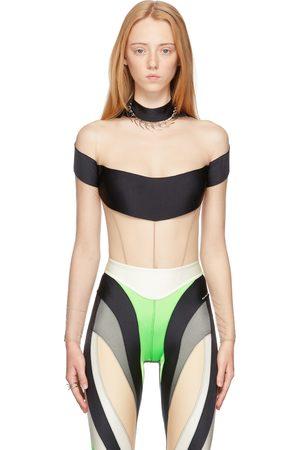 MUGLER Tan & Black Tulle Illusion Neckline Bodysuit