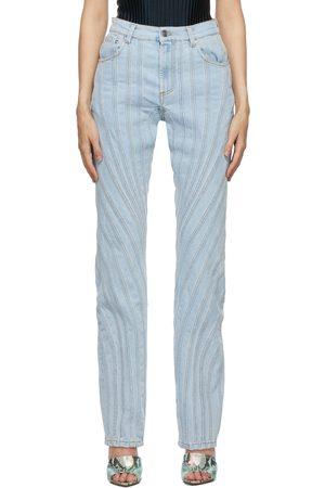 MUGLER Blue Wide-Leg Spiral Jeans